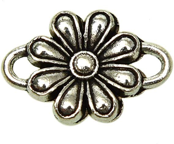 Antique Silver Plated Jewelry Making Charms Rose Flower Connector Crafting Craft