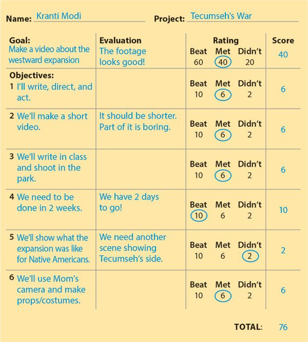 "A student created this rubric for a video project on the U.S. Westward Expansion. Note how the student copied his goal and objectives from the planning sheet that he had created (and his teacher had approved) at the beginning of the project. Even if you haven't filled out a planning sheet for a project, you can quickly build a simple rubric to evaluate it. Go step by step through the first ""Your Turn"" activity below."