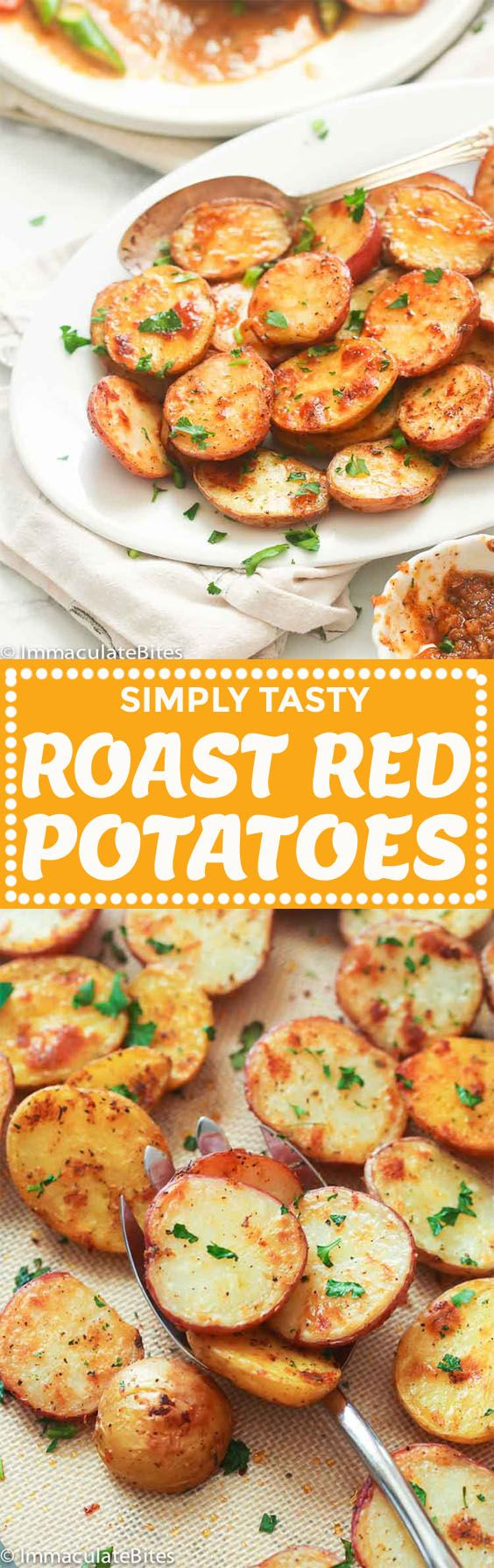 Oven Roasted Red Potatoes- Nicely cut baby red potatoes tossed in olive oil, herbs, garlic and creole seasoning. A great and simple side dish anytime of the year -Easter, Summer , and weekdays . Crispy, garlicky with a kick of heat!