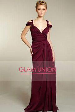 Venta caliente elegantes vestidos de baile Volantes cuello en V vaina / columna piso-longitud gasa US$ 149.99 GUPN8Q3K99 - GlamUnion.com for mobile