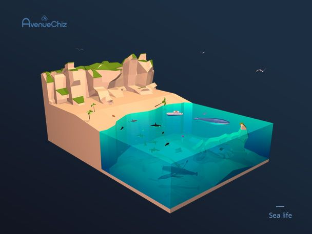 3D low poly sea
