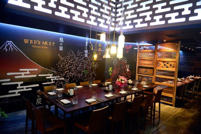 Large table and Japanese wood hand carved panels inside Bird's Nest Yakitori and Bar Japanese restaurant in Brisbane's West End.  Just tried it! Very good indeed!