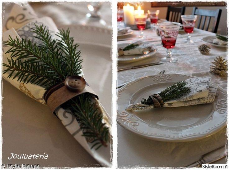 joulupöytä,joulukattaus,asetelma,havut