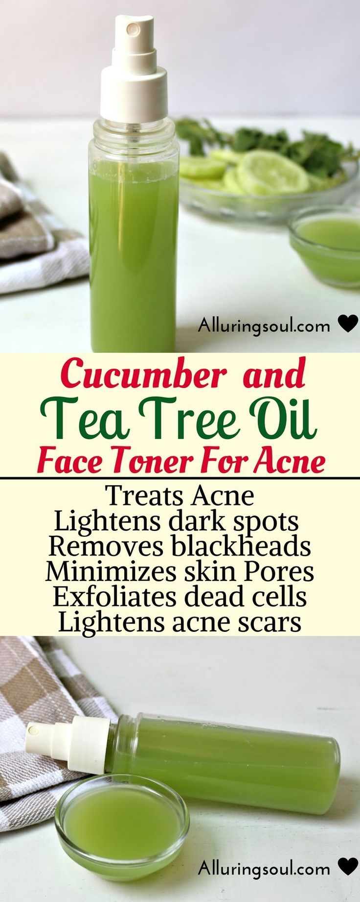 Cucumber and tea tree face toner soothes skin, helps you to get rid of hateful acne and pimples. It also lightens dark spots and scars and calms your red, inflamed and painful acne. Check out how does it can help you.  <><><> Click here: