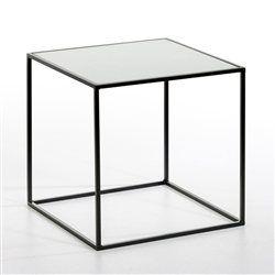 Bout de canapé métal laqué, plateau verre transparent ou blanc Romy AMPM