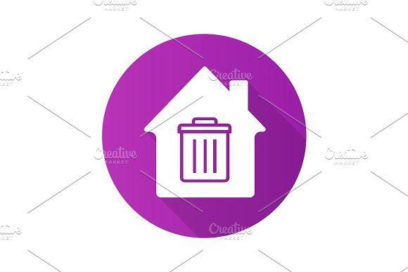 Garbage removal service flat design long shadow glyph icon #purple #trashcan