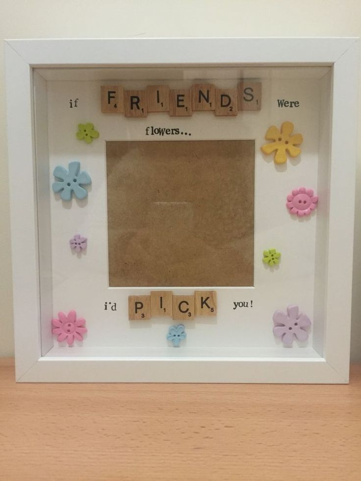 Handmade  if Friends Were Flowers I d Pick You  Deep Box Frame With Scrabble Art