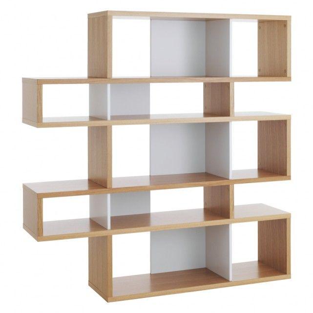 ANTONN Tall oak/white shelving unit