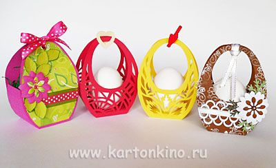 Easter baskets with their hands-russian site has been translated - free template for all models so cool