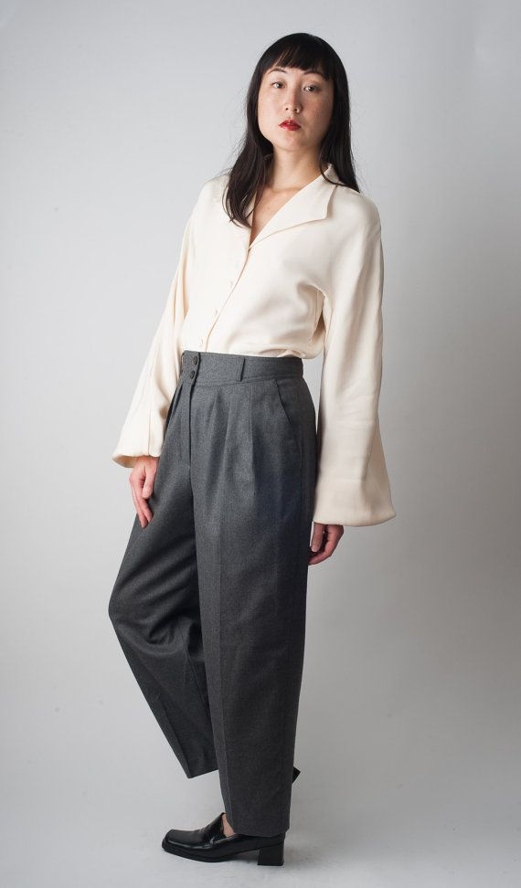 vintage anni 1990 minimalista chic fumo grigio LANA a pieghe VITA ALTA pantaloni colture pantaloni drappeggiati 90s liz claiborne