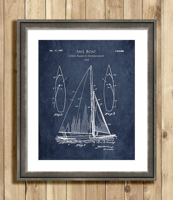 Gorgeous blueprint type art print of a 1927 sail boat. Original sail boat design was by Lewis Francis Herreshoff. This patent blueprint will add