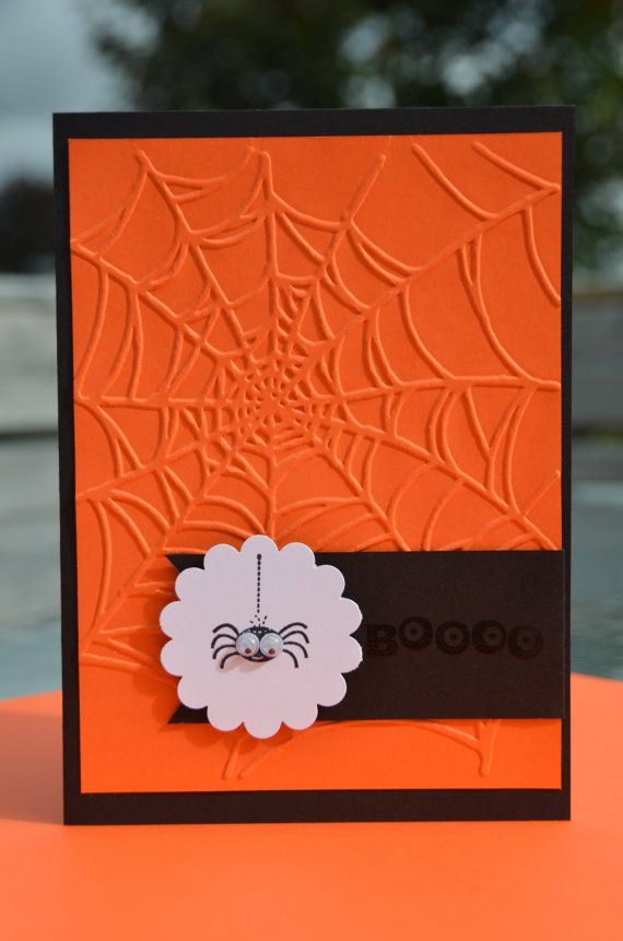 a simple Halloween card using the web embossing folder - Embossed Hand Stamped Stampin' Up Halloween Boo by LoveThoseCards