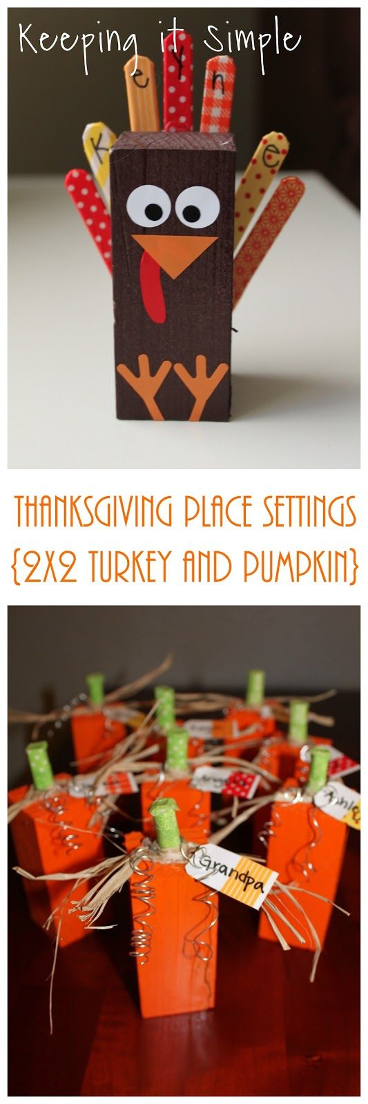 Keeping it Simple: Thanksgiving Place Settings- 2x2 Wood Turkey and Pumpkin