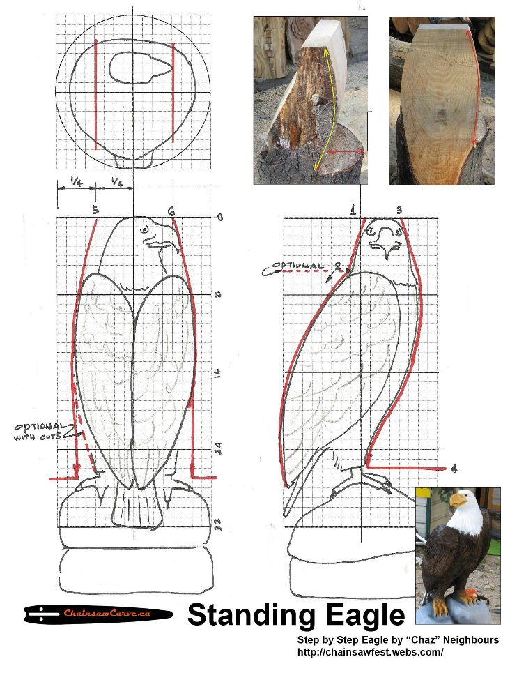 Chainsaw carving patterns standing eagle of https