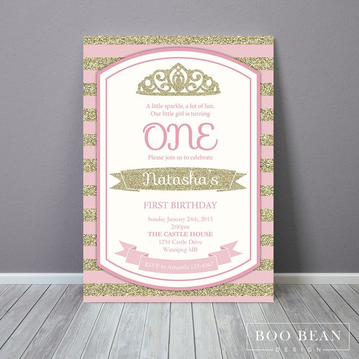 Girls Gold and Blush First Birthday | Printable Invitation | Girls Glitter Invitation | Glitter and Blush | Princess Birthday by BooBeanDesign on Etsy