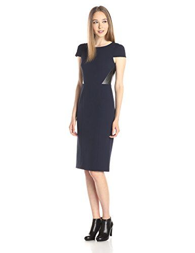 "4.collective Women's Fall Crepe ""Kate"" Cap Sleeve Midi Dress"
