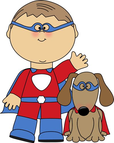 Boy superhero and his dog from MyCuteGraphics