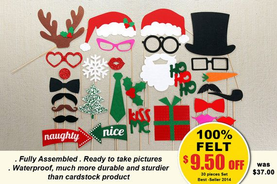 Christmas Photo Booth Props 35 pc On a Stick Photo Props set - Santa Photobooth Party Props