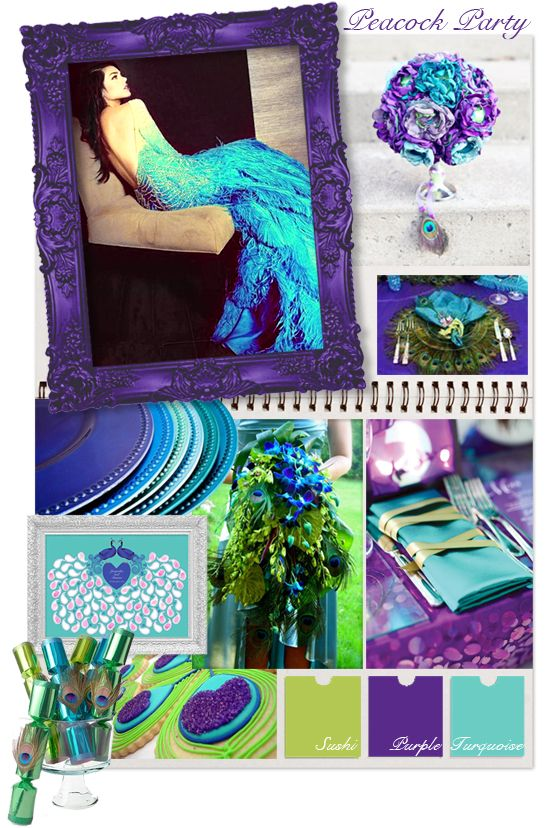 peacock party wedding mood board by 'i do' it yourself