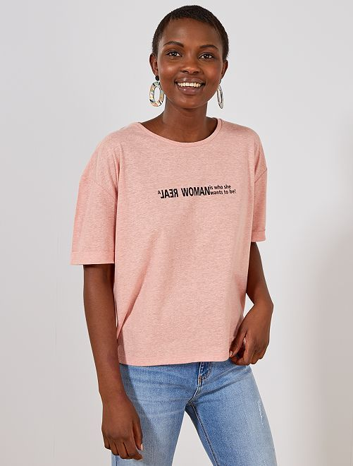 2ce2c66574c Camiseta jaspeada con mensaje en 2019