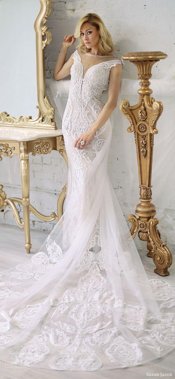 sarah jassir bridal 2018 off shoulder deep v neck illusion jewel neckline cap sleeves sheath lace wedding dress (andi) mv chapel train elegant -- Sarah Jassir 2018 Wedding Dresses