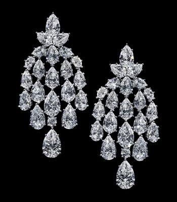 Harry Winston Diamond Chandelier earrings, each one dangling 22 internally flawless diamonds for an earring pair totaling 50 carats