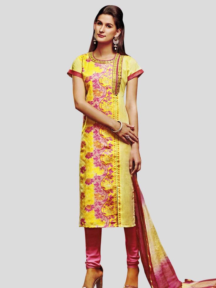 Cotton Silk and Brocade Silk Churidar Suit #partywear #designerdress #unique #stylish #FeelRoyal