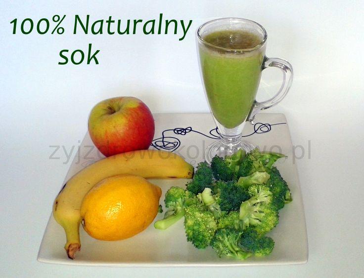 Składniki na jedną porcję pysznego soku: 1 jabłko, 0,5 brokułu, 0,5 cytryny, Opcjonalnie : 1 banan, Brokuł i jabłko wrzucamy do sokowirówki. Następnie dorzucamy banana, cytrynę i miksujemy blenderem na jednolitą konsystencje. GOTOWE!!!