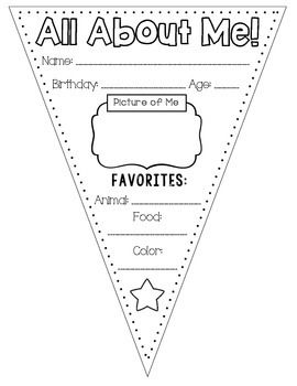 This All About Me Banner Template is a fun worksheet for students to complete at…