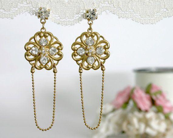 Bridal Flower Filigree Earrings - Crystal Jewelry #weddings #jewelry @EtsyMktgTool #goldearrings #weddingjewelry #weddingearrings