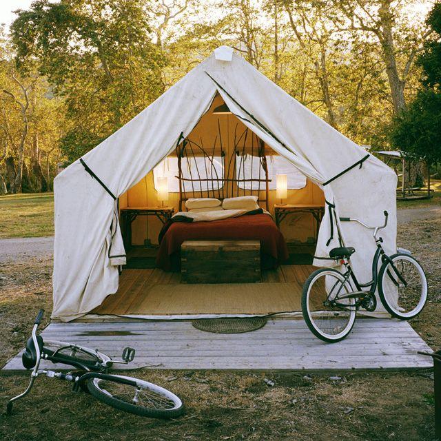 """Safari tent camping at El Capitan Canyon (aka """"glamping"""" = glamorous camping)"""