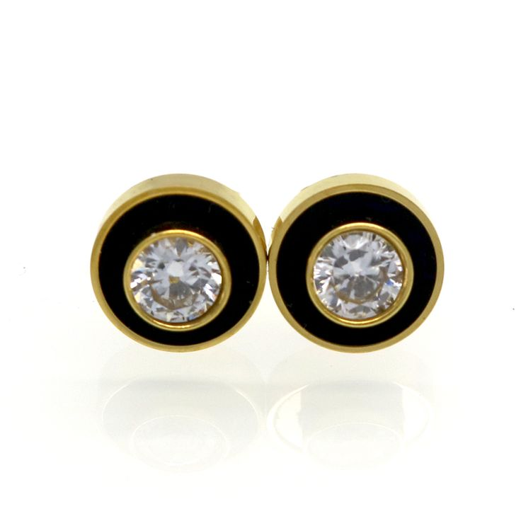 Hot Sell Men And Women Black With White Shell Round Party Crystal Stud Earrings For Girls Female Fashion Classic Jewelry Brincos