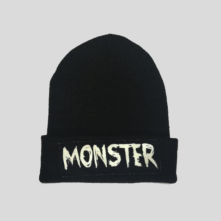 Monster Grunge Gothic Style Winter Beanie Headwear Hipster Indie Swag Dope Hype Black Hat Beanie Mens Womens Cute Slouchy Hat by IIMVCLOTHING on Etsy