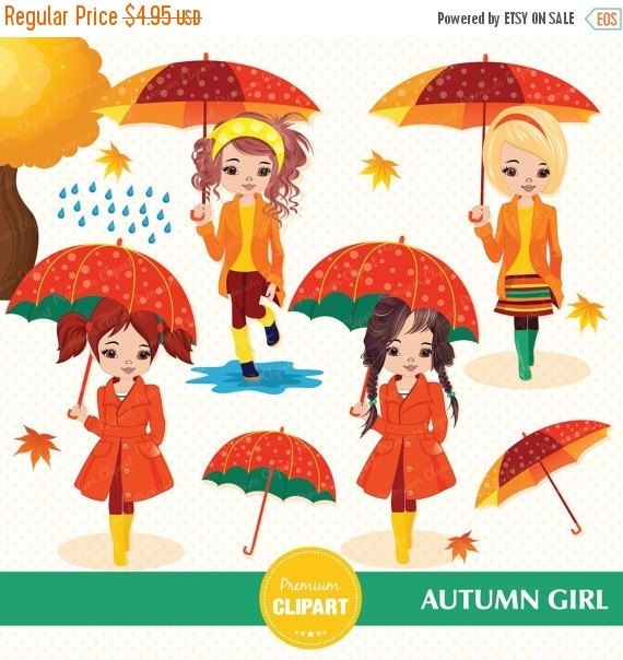 70% OFF SALE Fall clipart Autumn girl clipart by PremiumClipart