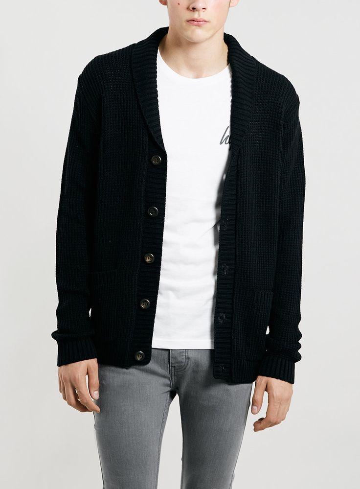 Black textured shawl cardigan from Topman