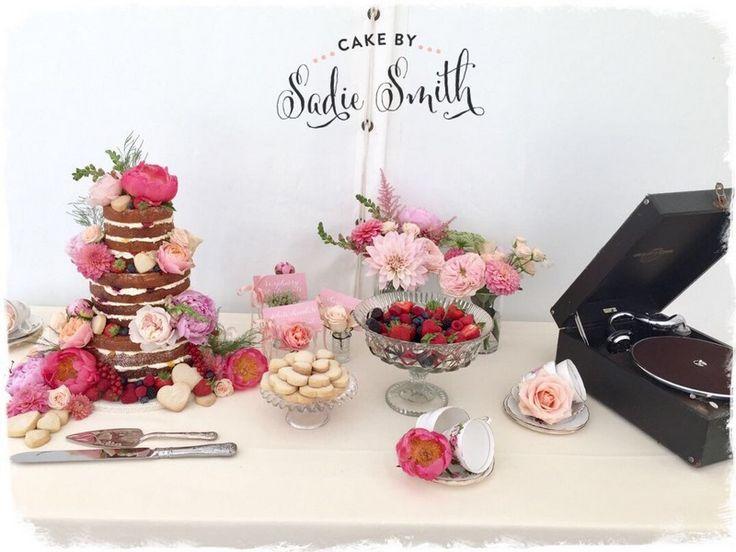 Vintage Naked Wedding Cake Table - http://www.cakebysadiesmith.co.uk/dessert-table/vintage-naked-wedding-cake-table/