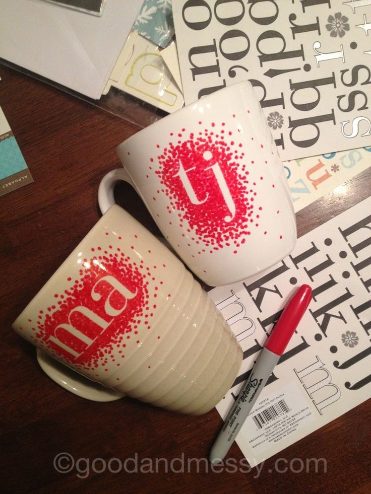 A different type of sharpie mug. use stickers. sharpie. draw around. remove stickers. THEN BAKE @ 350 degrees in oven for 30 minutes and BAM permanent mugs .. would make awesome gifts