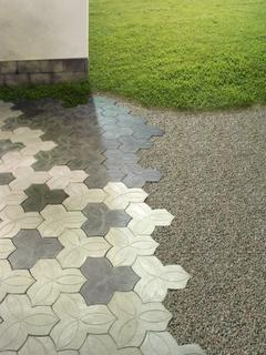 Oldsjö Hultgren Design: Pattern Inspirations, Surface Inspiration, Patterns Designs, Texture, Geometric Tiles, Tactile Visuals, Floor Wall Compositions, Tactile Paving, Outdoors Floors