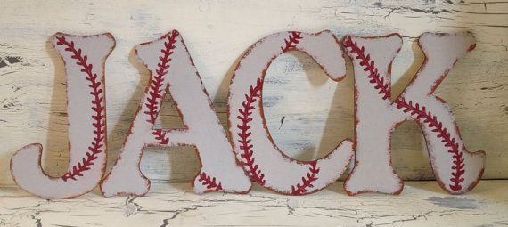"Best Seller - 8"" Custom Rustic Baseball Wall Letters"