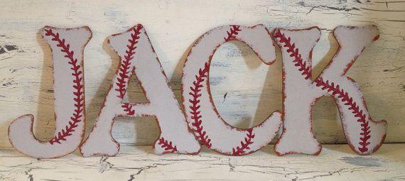 "Best Seller - 8"" Custom Rustic Baseball Wall Letters"
