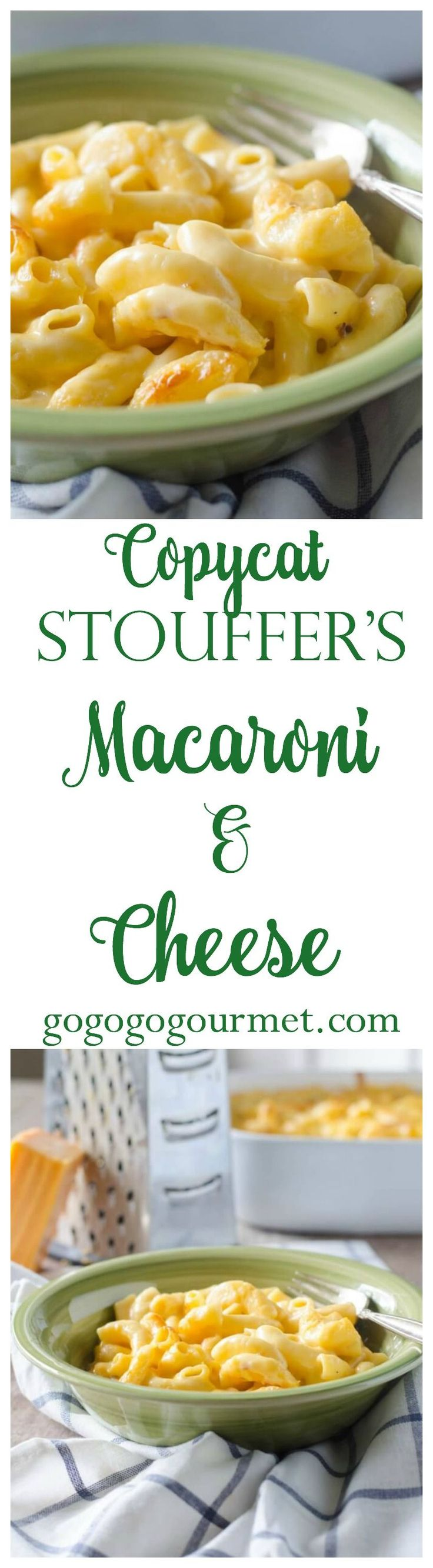 This five ingredient mac and cheese is so creamy and perfect, you'll never buy it from the freezer again! Copycat Stouffer's Macaroni and Cheese | Go Go Go Gourmet @gogogogourmet