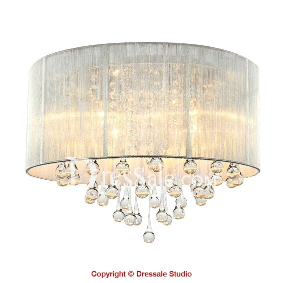 Silver Ribbon Drum Shade Crystal Accent Flush Mount Ceiling Light