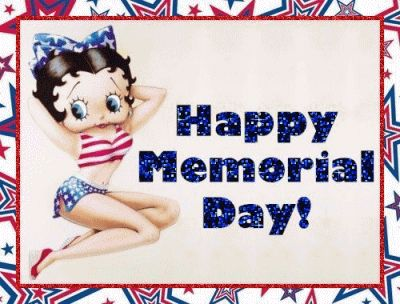 happy memorial day | Glittering Happy Memorial Day! with Betty Boop posing in a red, white ...