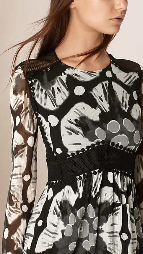 Burberry | Black white Tie-dye Print Crepe de Chine and Lace Dress