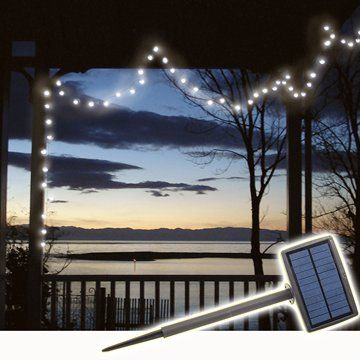 150 LED Solar Fairy LightsBrighten up your BBQ area, veranda or garden shrubbery using safe, free energy.Not just for Christmas, these delightful solar powered, twinkly fairy lights need no wiring nor assembly and will add interest to bare winter gardens.No hassle, just stick solar panel in the ground (in a sunny spot), string the lights and switch on. Or, solar panel may be mounted with screws to a deck or wall. Panel can swivel 180 degrees to catch the best sunlight.Charges up during