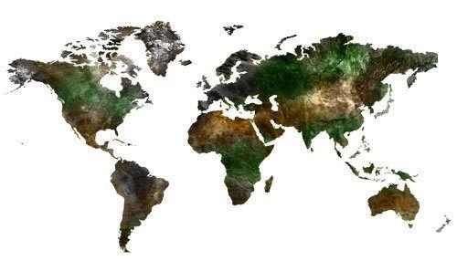 Adesivi murali - Parete in Vinile Mappa del Mondo Vista Satellitare - un prodotto unico di Wall-Decals su DaWanda