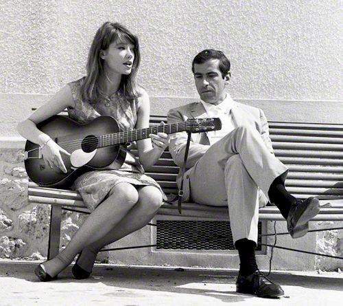 """Françoise Hardy with director Roger Vadim photographed by Vittoriano Rastelli on the set of his movie """"Château en Suède"""", 1963-2"""