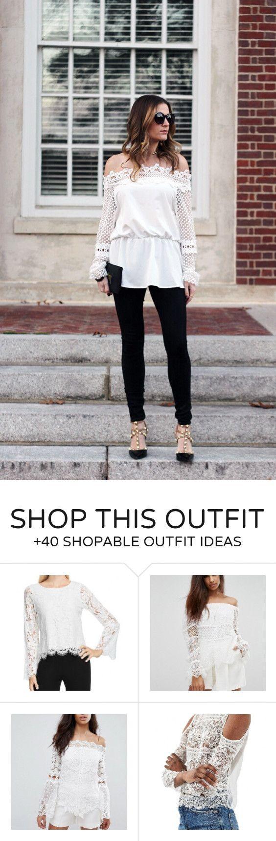 #winter #fashion /  White Lace Off Shoulder Top / Black Skinny Jeans / Studded Pumps