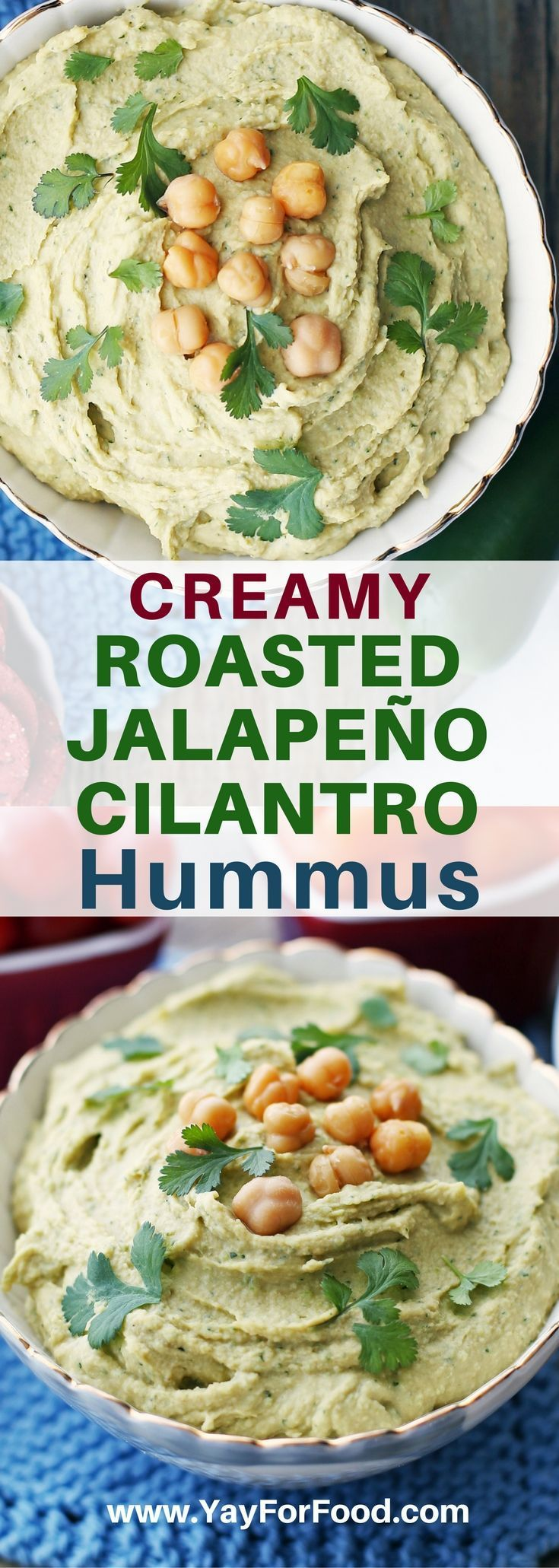 Delicious and creamy! Try this easy homemade spicy jalapeño and cilantro hummus! Perfect as a dip for vegetables and crackers or as a condiment in wraps and sandwiches. #ForVegetarians