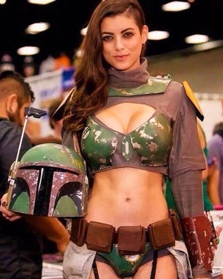 image Cosplay babes busty star wars fan cums solo